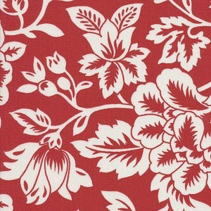 Image of FF Red and White Floral Outdoor Fabric