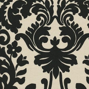 Image of FF Fabulous Black and Cream Damask Outdoor Fabric from Waverly