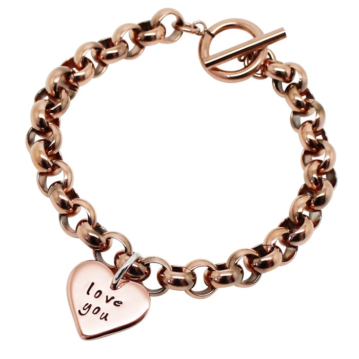 Image of Personalised 9K Yellow Gold Love Heart Chunky Bracelet