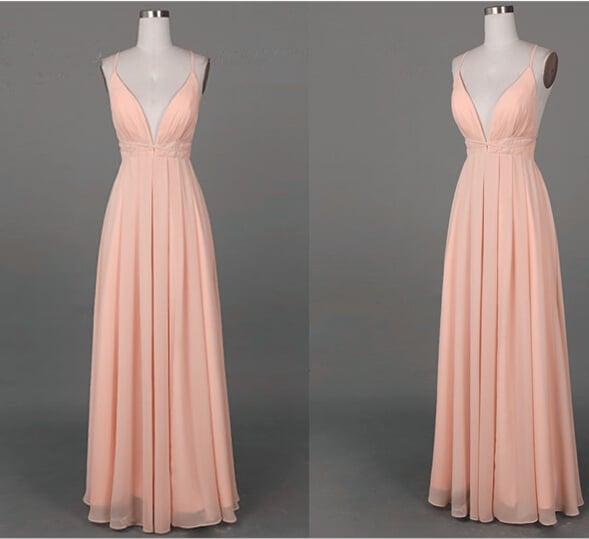 Cute Pink Cross Back Long Simple Prom Dresses, Prom Dresses ...