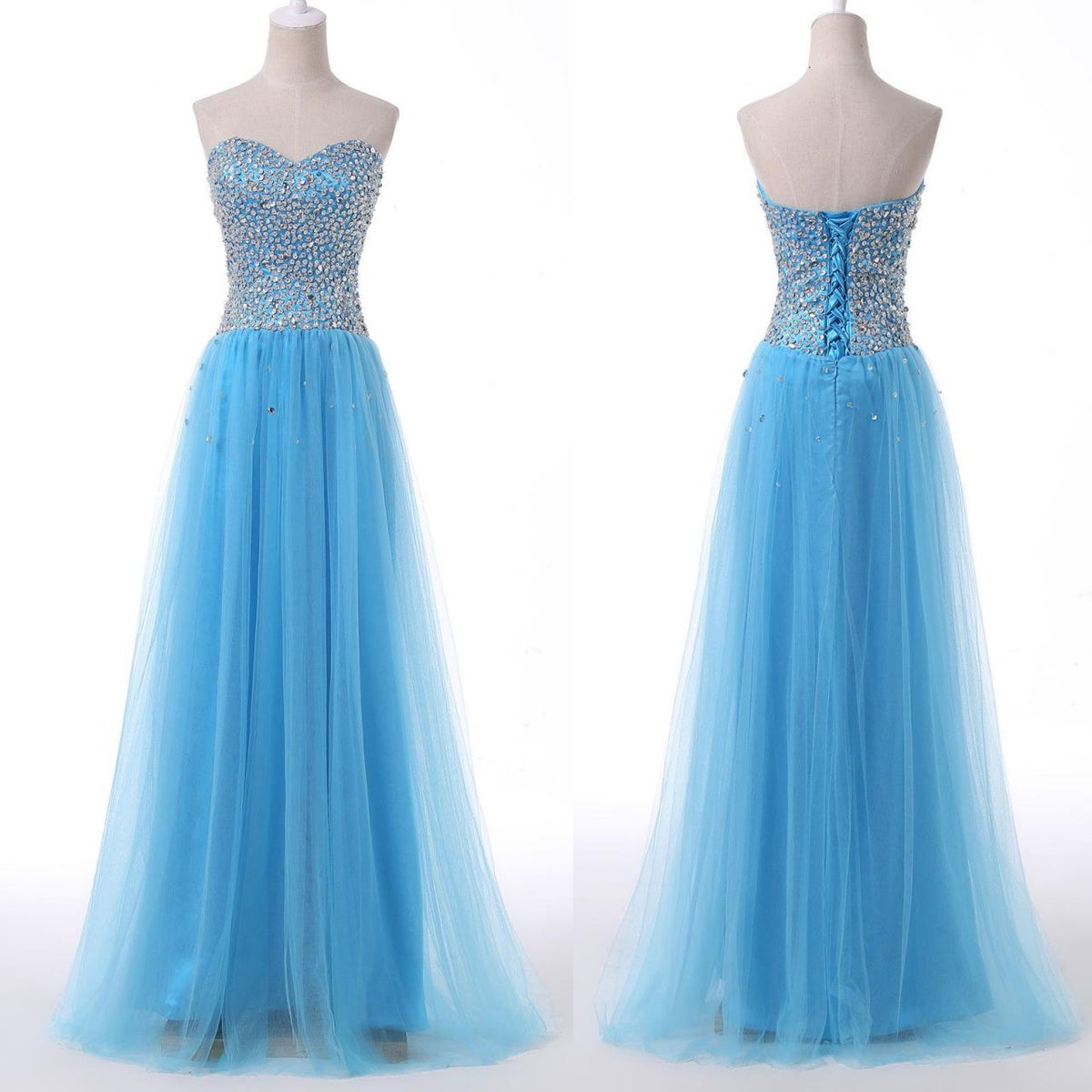 High Quality Handmade Blue Tulle Prom Dresses with Sequins, Blue Prom Gowns, Formal Gowns