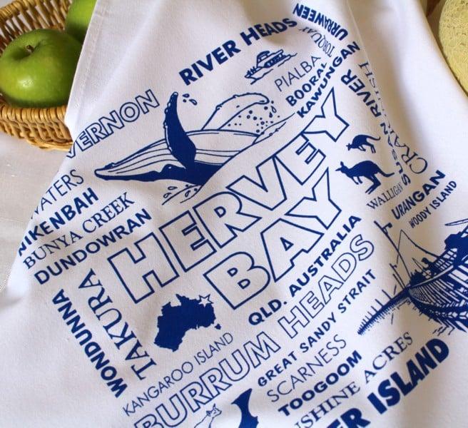 Image of Hervey Bay (Qld) Whale Watch, Fraser Island & Fishing Souvenir Cotton Tea Towel