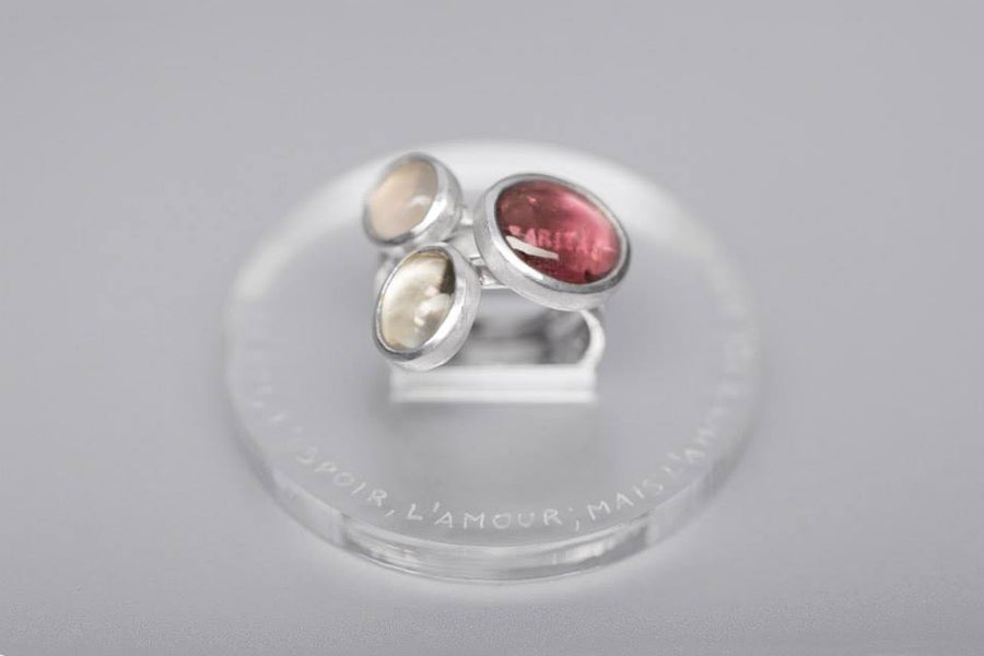 "Image of ""Faith, hope and.."" silver rings with rock crystal, tourmaline, rose quartz  · FIDES, SPES..·"