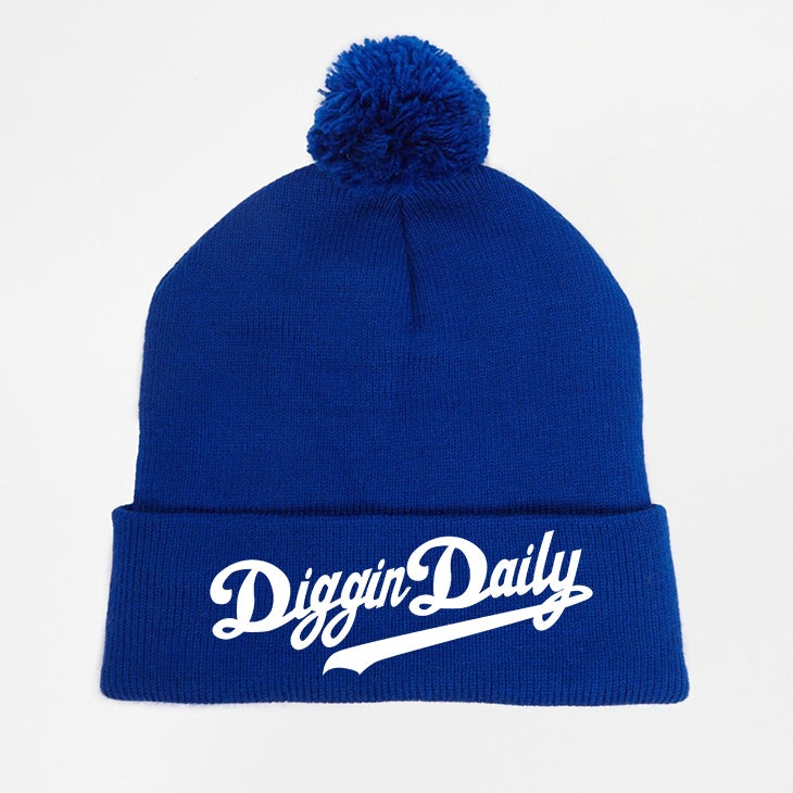 Image of DIGGINDAILY FULL LOGO BLUE POM POM BEANIE