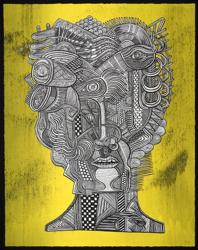 "Zio Ziegler - ""Portrait of The Aggregation God (YELLOW), 2016"" - 2 Color Screenprint - Edition of 11 - Misc. Press"