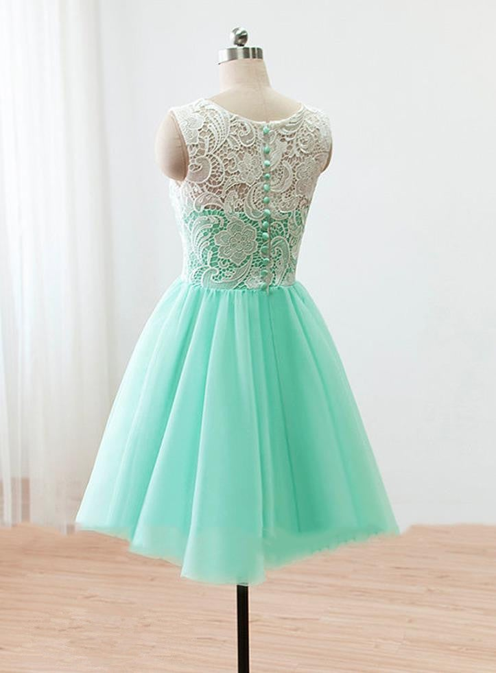 Lovely Mint Handmade Short Prom Dress with Lace Applique, Prom Dresses, Homecoming Dresses