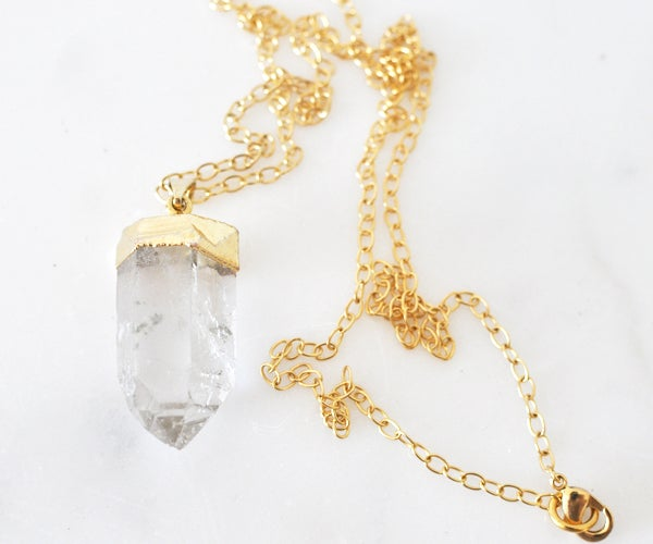 Image of Luxe Gold Plated Quartz Crystal Dangle Necklace