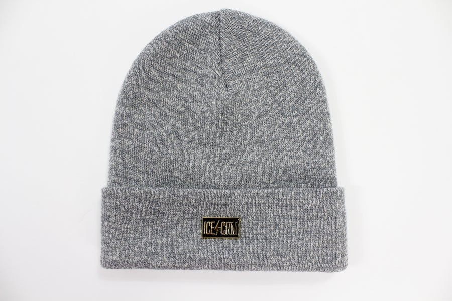 Image of ICE CRM Metal Badge Beanie / Black / Heater Grey / Burgundy Melange