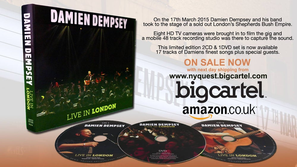 """Damien Dempsey """"Live In London"""" Limited Edition Triple Disc CD/DVD"""