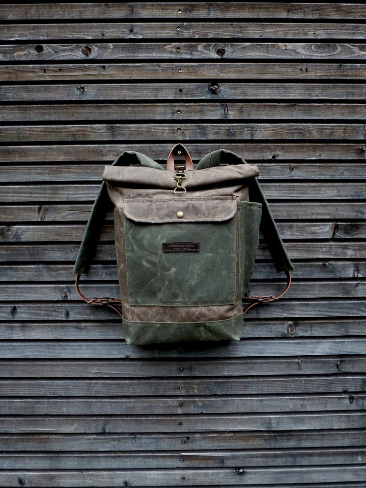 Waxed Canvas Backpack Waterproof Backpack With Roll Up Top