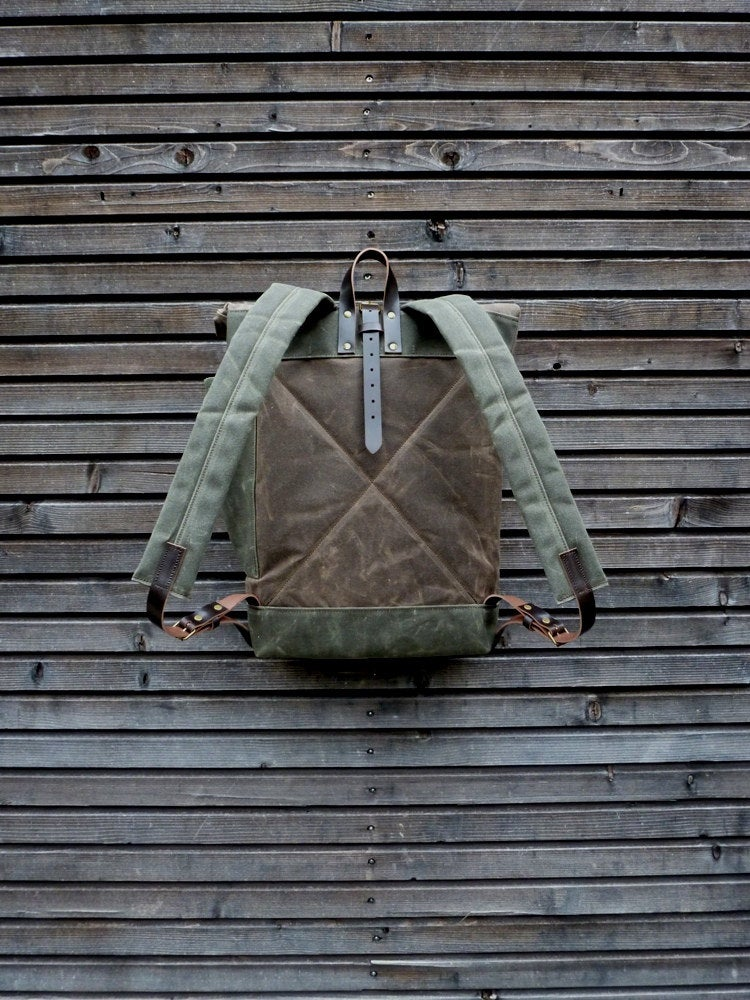 Image of Waxed canvas backpack waterproof backpack with roll up top and double bottom
