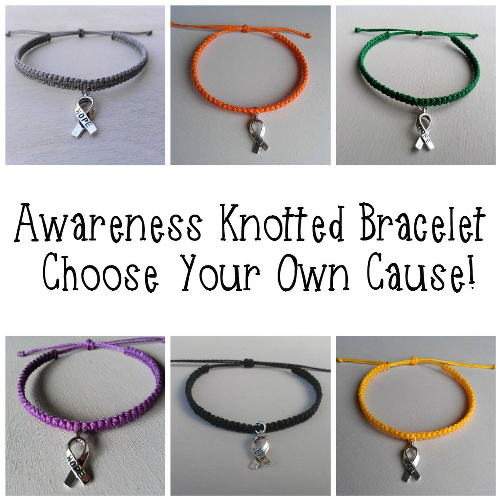Image of AWARENESS KNOTTED BRACELET - YOU CHOOSE YOUR CAUSE!