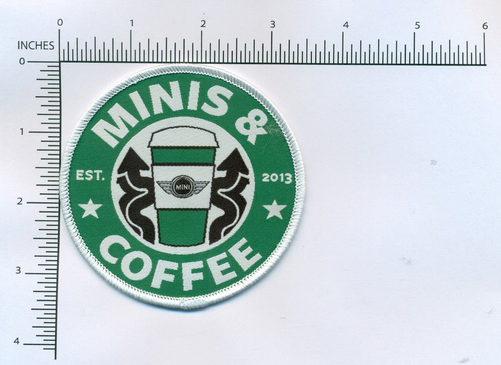 "Image of MINIS & COFFEE 3.5"" WOVEN MEMBERS PATCH"