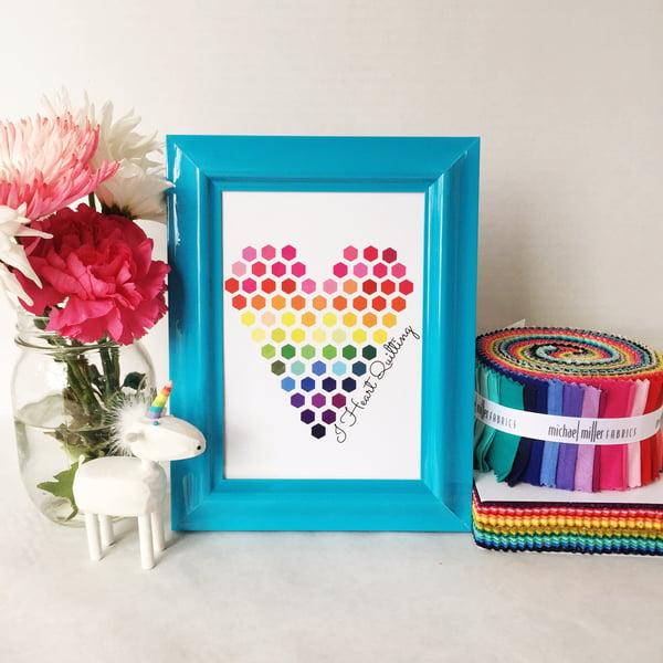 Image of Rainbow I Heart Quilting Art Print (5x7)