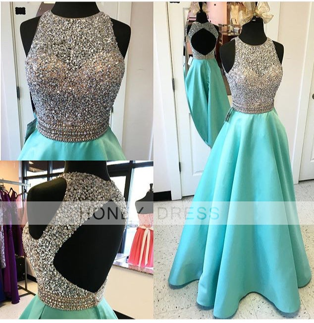 Image of Mint Satin A line Beaded Sequins Prom Gown With Open Back