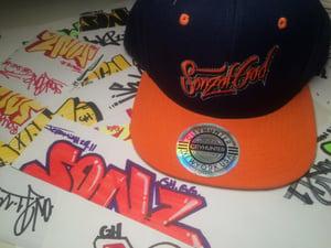 Image of Sonz of God snap back & sticker pack Nav/ Org