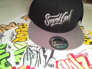 Image of Sonz of God snap back & sticker pack Blk/gry
