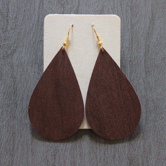 Image of Drop Faux Leather Earrings - Multiple Color Options Dark Grey