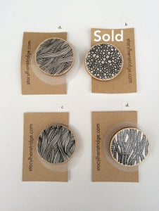 Image of Illustrated Wooden Badges