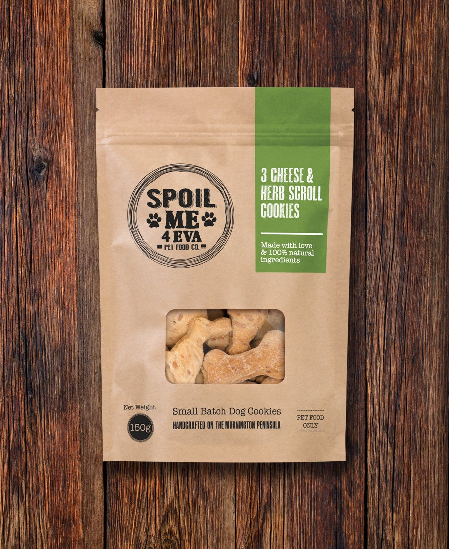 Image of 3 Cheese & Herb Scroll Dog Cookies