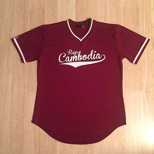 Image of REP CAMBODIA BASEBALL PRACTICE JERSEY - VNECK