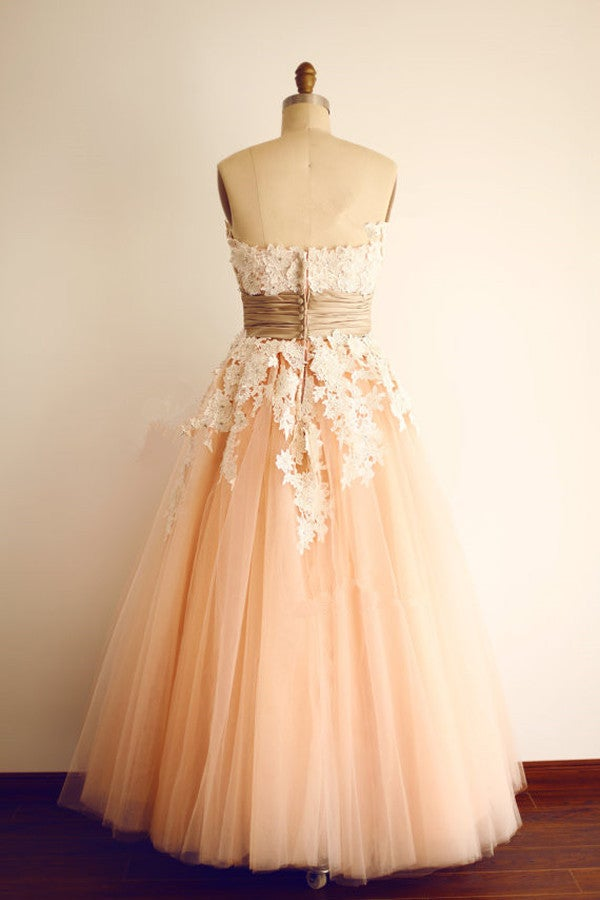 Lovely Tulle Pink Prom Dress with Lace Applique, Tulle Prom Gowns, Party Dresses