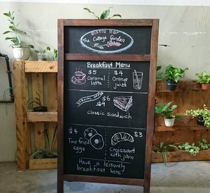 Large Double Sided Standing Chalkboard with Walnut Frame (2 sections)