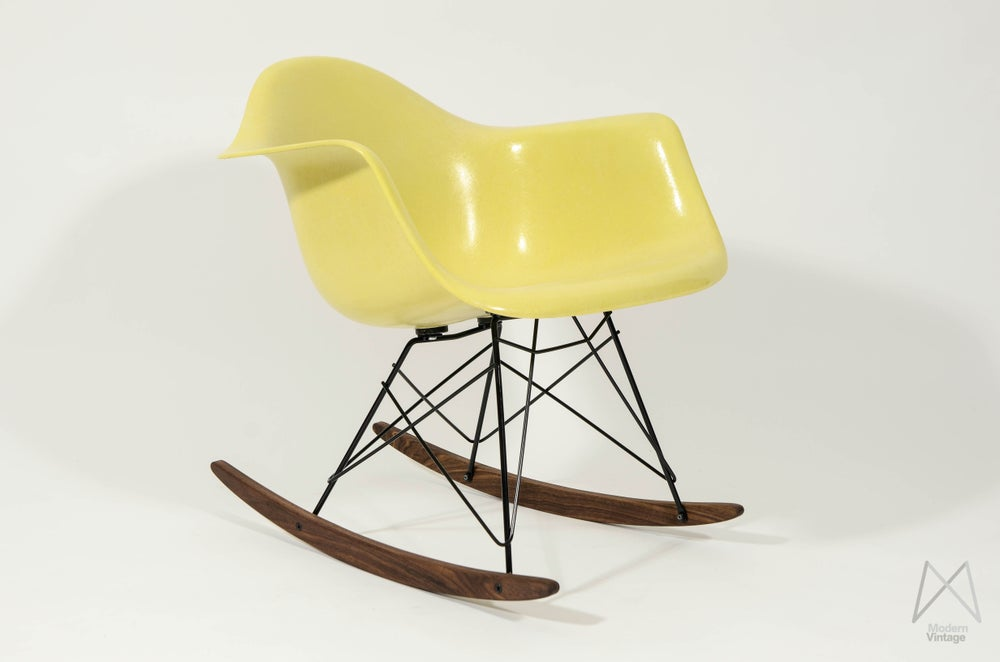Image of Eames Herman Miller Fiberglass Polyester Rocking Chair RAR Lemon Yellow