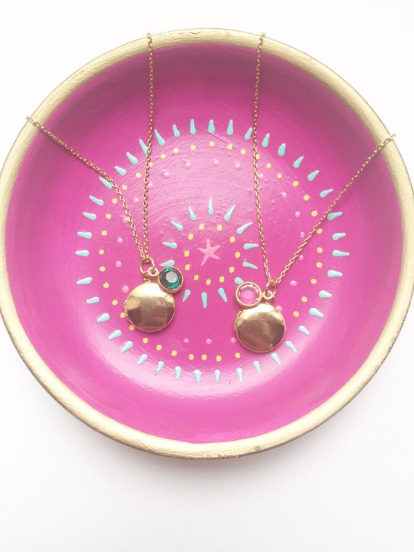 Image of Birthstone Locket Necklace