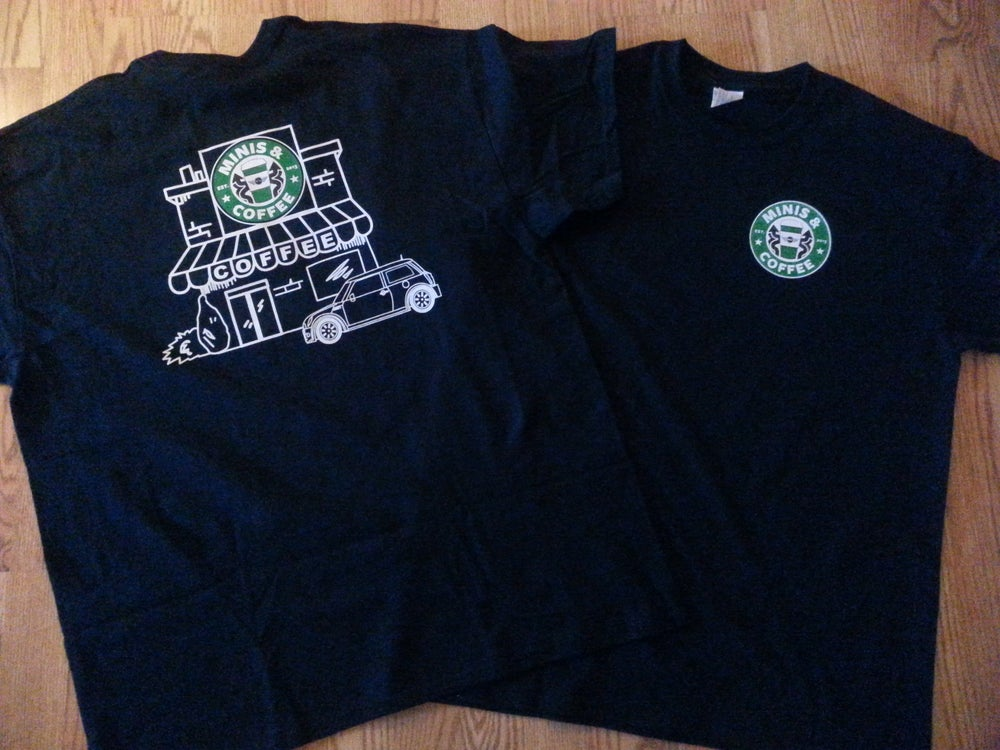 Image of MINIS & COFFEE ADULT CUT TEE SHIRT
