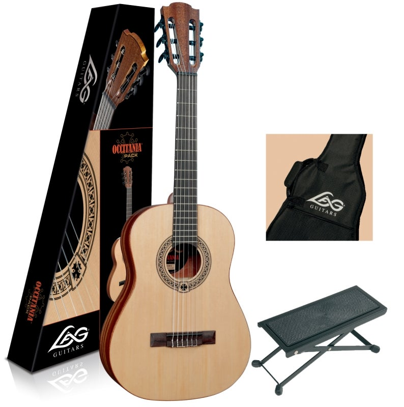 Image of Lag Occitania OC44 3/4 Size Guitar Pack, Includes Gigbag, Foot Stool