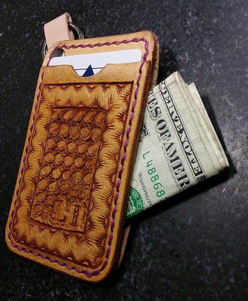 Image of Custom Hand Tooled Leather Minimalist Front Pocket Wallet, Card, Work ID Badge Holder.