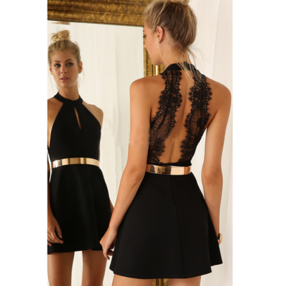 Image of FASHION SEXY LACE BACKLESS BLACK DRESS
