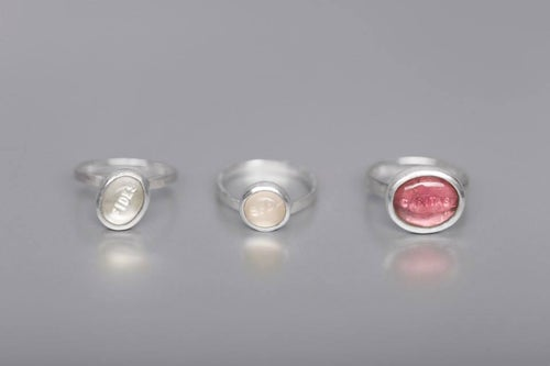 """Image of """"Faith, hope and.."""" silver rings with rock crystal, tourmaline, rose quartz  · FIDES, SPES..·"""