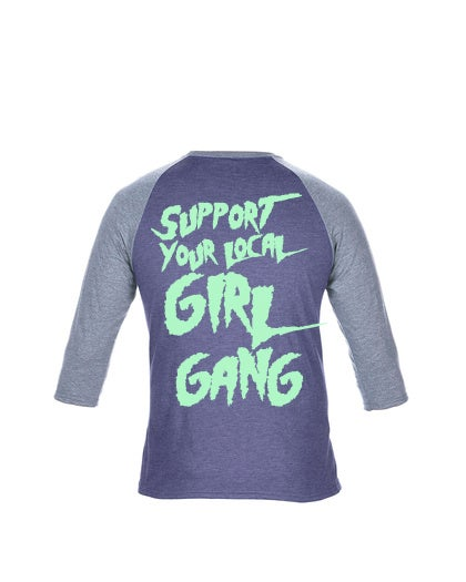 Image of Thin Lizzies Girl Gang Baseball Heather Blue/Grey