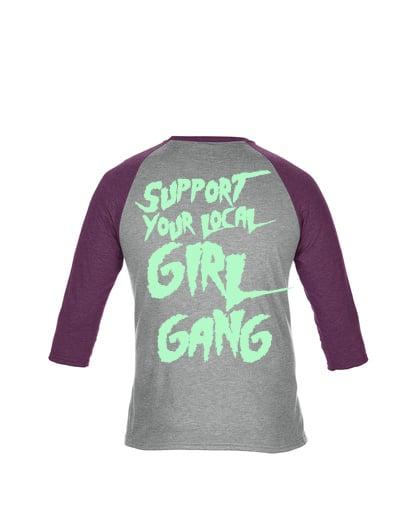 Image of Thin Lizzies Girl Gang Baseball Heather Grey/Aubergine