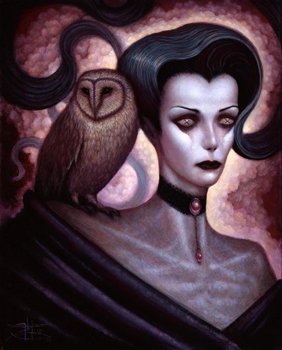 Image of Chet Zar 'Lilith and Her Owl Familiar' giclée print canvas framed