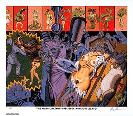 """Image of Robert Williams """"The Mad Surgeon's Species..."""" signed lithograph"""