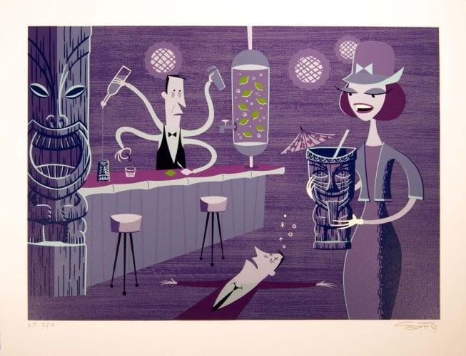 Image of Shag 'Incredible Bartender' oil hand silkscreen print