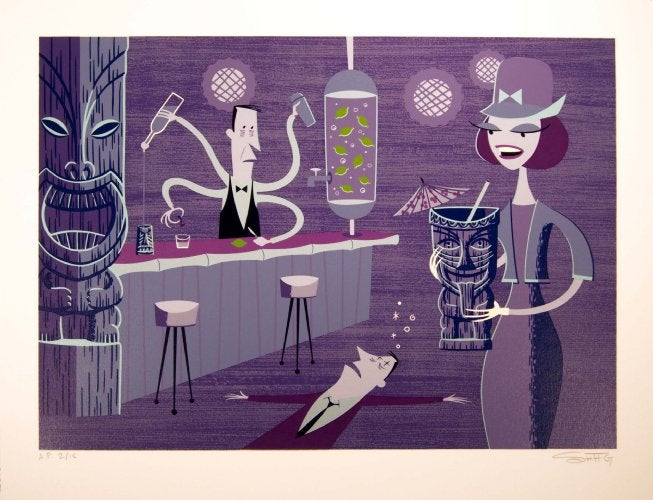 Image of Shag 'Incredible Bartender' oil hand silkscreen print