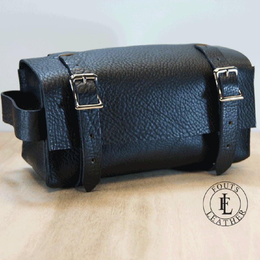 Image of Black Leather Dopp Kit - Toiletry Bag
