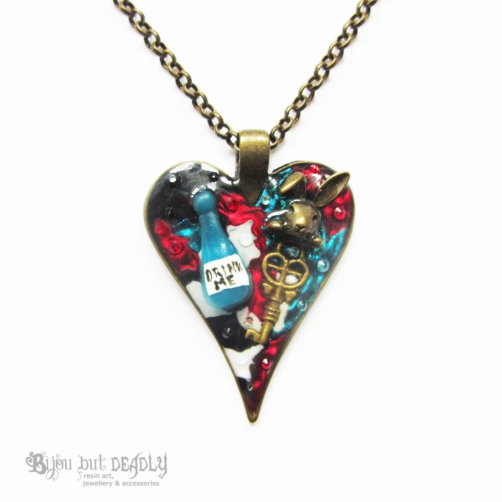 Alice's Drink Me Small Heart Pendant
