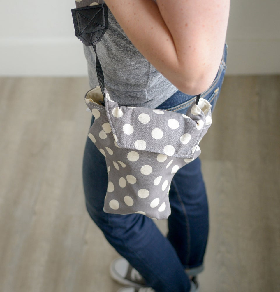 Image of Top DSLR Camera Cover | Cute Gray Polka Dots Padded Camera Coat  | Free US Shipping