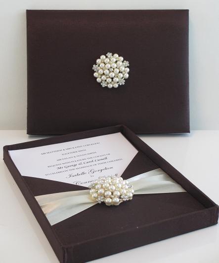 Papertown Designs Black Silk Wedding Invitation Box