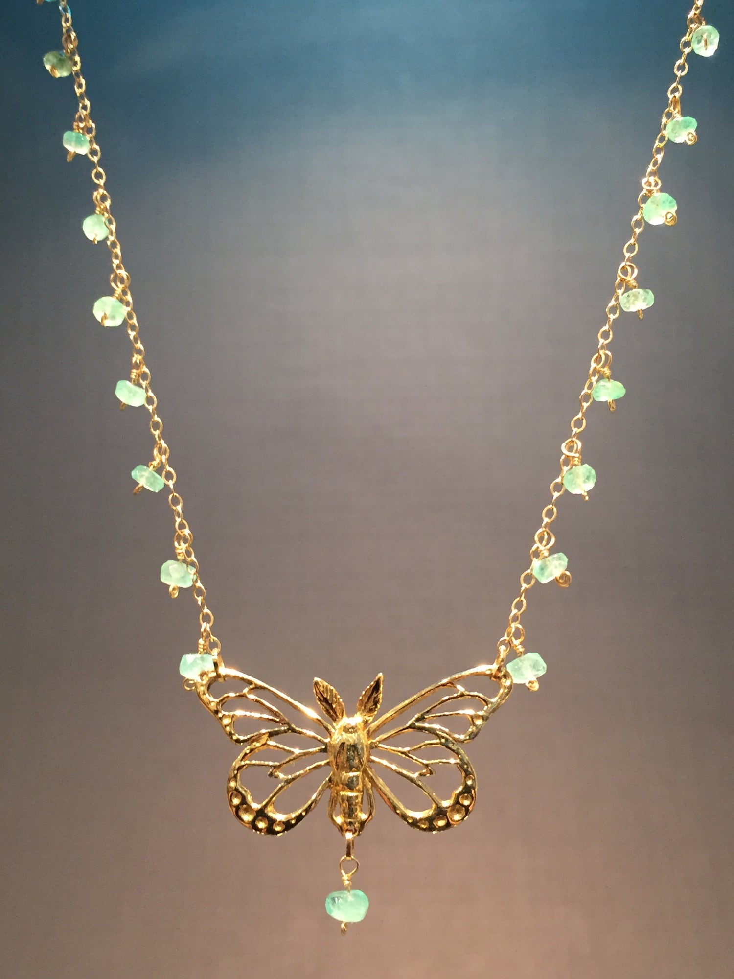 Image of 18K Emerald Butterfly Necklace