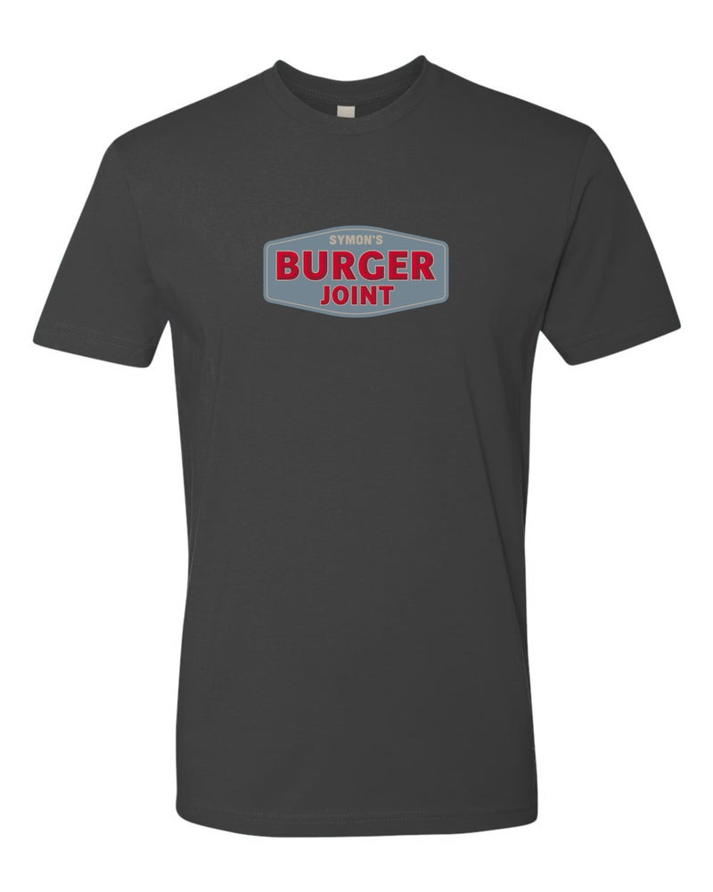 Image of Symon's Burger Joint - Unisex T-Shirts - Cardinal or Heavy Metal
