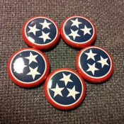 "Image of 5 - 1"" Tennessee flag buttons, magnets, flatbacks, or keychains."