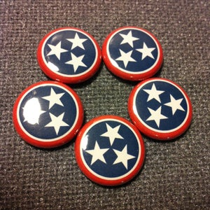 """Image of 5 - 1"""" Tennessee flag buttons, magnets, flatbacks, or keychains."""