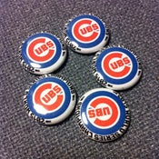 "Image of 5 - 1"" Chicago Cubs Back to the future World Series 2015 buttons, magnets, flatbacks, or keychains."