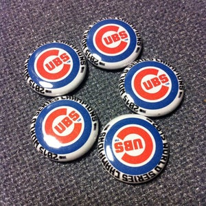 """Image of 5 - 1"""" Chicago Cubs Back to the future World Series 2015 buttons, magnets, flatbacks, or keychains."""